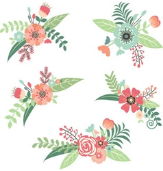 Wedding flower bouquet set vector