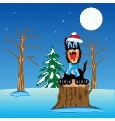 Wildlife wolf in wood vector image vector image