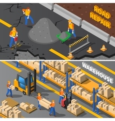 Workers Isometric Banners Set vector image vector image