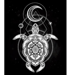 Ornate turtle in tattoo style with moon vector