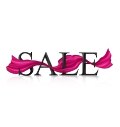 Black sale sign with pink silky ribbon vector