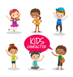 Teen preteen kids cartoon characters vector