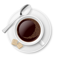 Coffee with sugar on white background for design vector