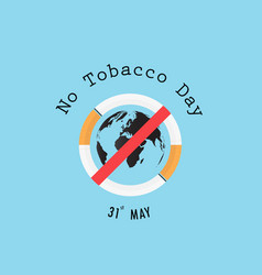 world map icon and quit tobacco signworld no vector image
