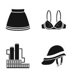 Skirt brassiere and other web icon in black style vector