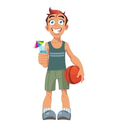 smiling boy and a basketball ball vector image