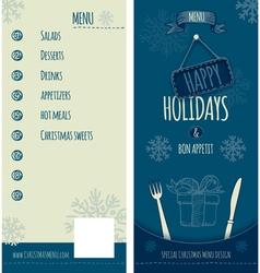 Happy holiday christmas menu vector