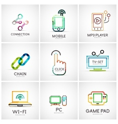 Set of various company logos business icons vector