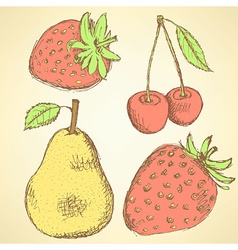 Sketch pear strawberry and cherry in vintage style vector