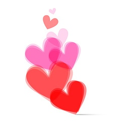 Transparent Hearts Set on White Background vector image