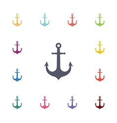 Anchor flat icons set vector