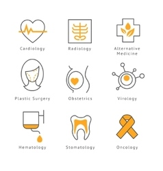 Colored medical health care icons vector