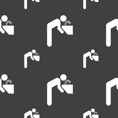 Drinking fountain icon sign seamless pattern on a vector