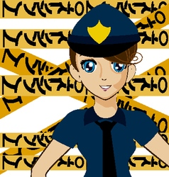 Manga police girl vector