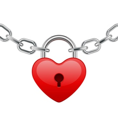 Red shiny heart lock shape on chain vector