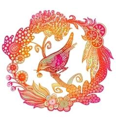 Hand drawn bird in the wreath vector image
