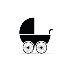 Baby stroller in black vector