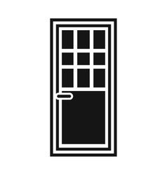 Wooden door with glass icon simple style vector