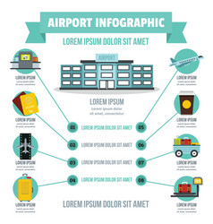 Airport infographic concept flat style vector