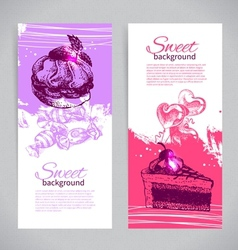 Banner set of vintage hand drawn sweet background vector image