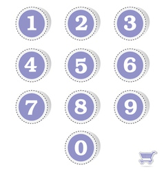 blue sticker with numbers vector image vector image