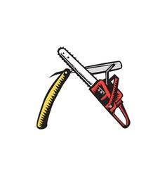 Chainsaw straight razor crossed woodcut vector