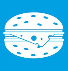 Cheeseburger icon white vector