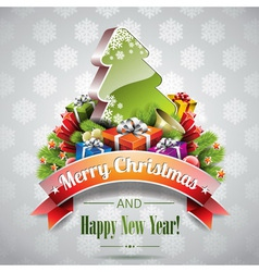 Christmas with magic tree vector image vector image