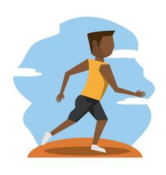 Color scene with faceless brunette runner man vector