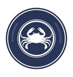Crab animal sea emblem vector