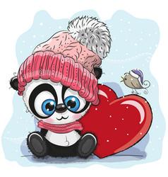 cute cartoon panda in a knitted cap vector image