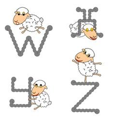 Design abc with funny cartoon sheep vector