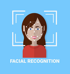 Facial recognition biometrics scanning of female vector