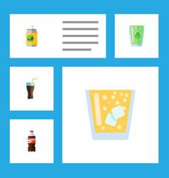 Flat icon beverage set of lemonade beverage vector