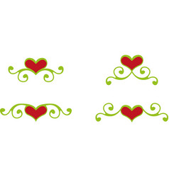 Floral heart elements vector