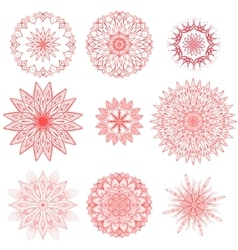 geometric chrysanthemums set vector image