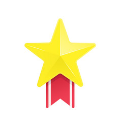 Gold star and red ribbon vector