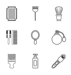 Hairdressing salon icons set outline style vector