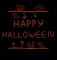 handdrawn label with words happy halloween vector image