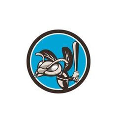 Hornet baseball player batting circle retro vector
