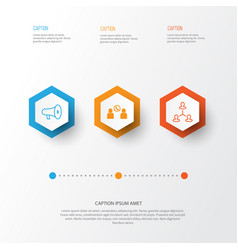 Hr icons set collection of talking hierarchy vector