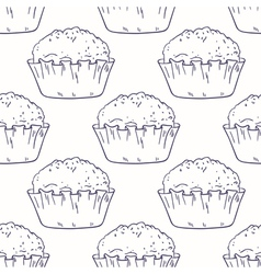 Outline seamless background with muffins vector