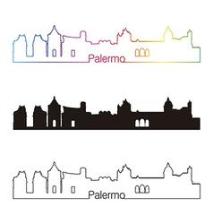 Palermo skyline linear style with rainbow vector