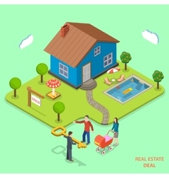 Real estate deal isometric flat concept vector