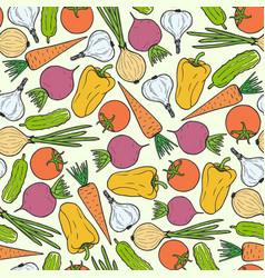 Seamless pattern of vegetables carrot garlic vector
