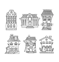 Set of cute doodle houses vector image