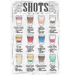 Shots menu retro vector
