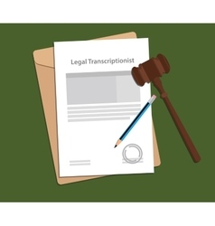 Signing agreement letter of legal transcriptionist vector image