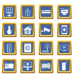 Smart home house icons set blue vector