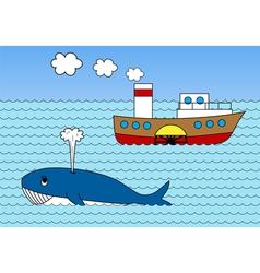 Steamship on sea vector